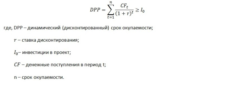 Формула расчета дисконтированного срока окупаемости