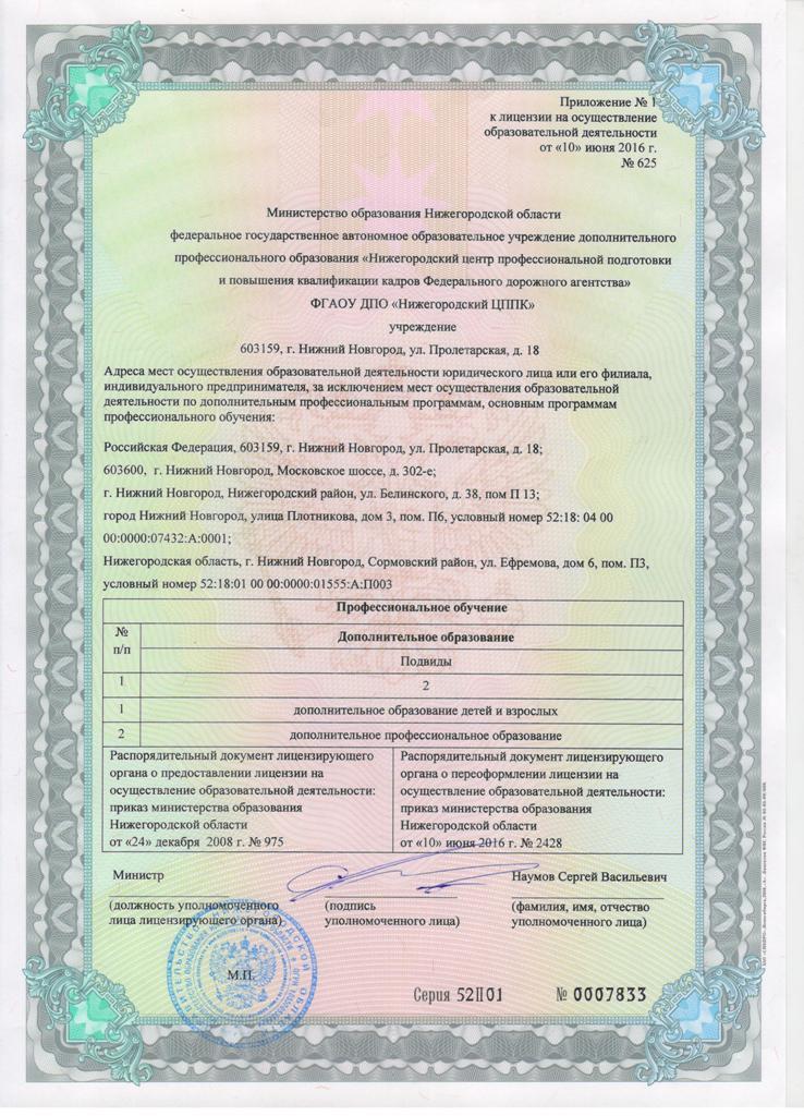приложение к лицензии автошколы