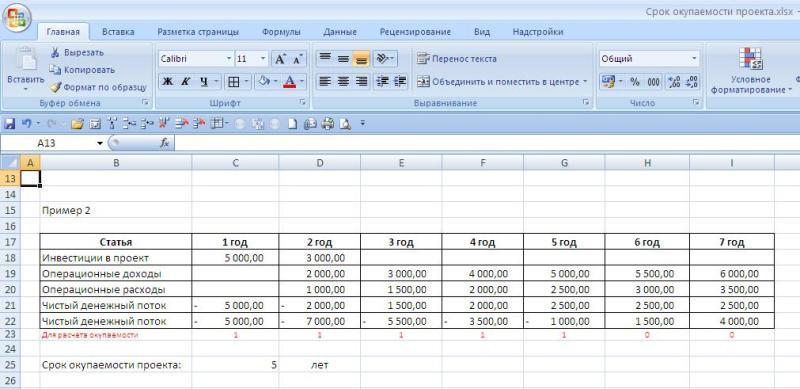 Пример расчета простого срока окупаемости в Excel - результаты вычислений